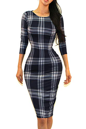 Vivicastle Women's Classic Slim Fit Bodycon Pencil Midi Dress (Medium, AW46, Navy/Check)