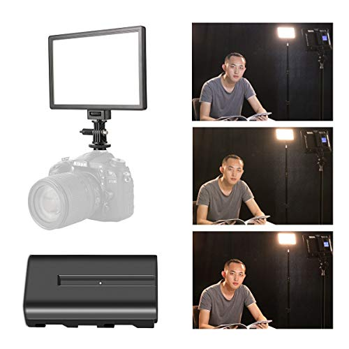 - SUPON LED-L122T RA CRI95 Super Slim LCD Display Lighting Panel,Portable Dimmable 3300K-5600K LED Video Light Compatible for Canon,Nikon,Pentax,Sony,Olympus Cameras&Camcorder,Shooting& NP-F550 battery