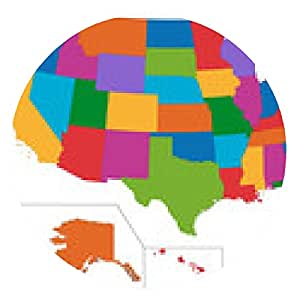 alfombrilla de ratón mapa colorido EE.UU. - ronda - 20cm