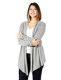 100% cachemir. Womens Jersey, Frente Abierto chaqueta de punto, cuello Swing estilo