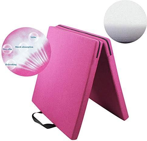 スポーツマット ストレッチマット ダンス スポーツマット 滑り止め 学生 家庭 折り畳み式 2つの厚さ、 11サイズ GUORRUI (Color : Pink, Size : 2-Panel-100x200x5cm)