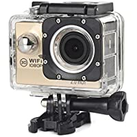 ESCENERY New Full HD 1080P WIFI H16 Action Sports Camera Camcorder Waterproof 32G Memory Card+1200 Million High-Definition Wide-Angle Lens (Gold)