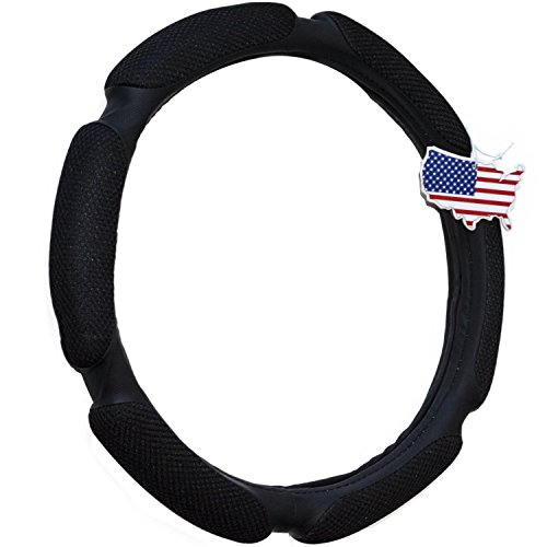 Black Steering Wheel Cover Odorless - Warmer Hands In Winter, Cooler Hands In Summer, Includes American Style Air Freshener