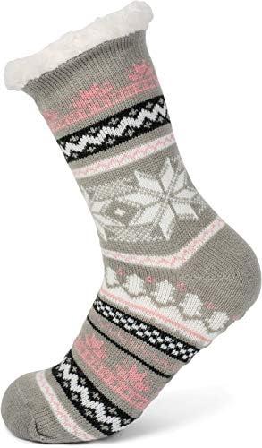 styleBREAKER Unisex ABS stoppersokken met teddyvoering en Noors patroon ABS sokken maat 3542 EU510 US48 UK 08030008