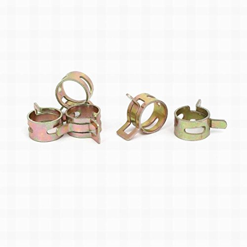 0.5' Pipe Clamp (FemiaD 11.5mm Inner Dia Yellow Zinc Plated Water Pipe Fuel Line Hose Clamps Clips 5pcs)