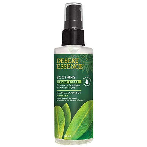 Desert Essence Relief Spray - 4 fl oz - 2 Pack - with Antiseptic Eco-Harvest Tea Tree Oil and other Essential Oils - Minor Burns - Sunburn - Insect Bites - Scrapes