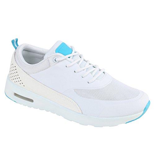 Bottes Unisexe Paradis Femmes Hommes Chaussures De Sport Course Sur La Taille Flandell Turquoise Blanc