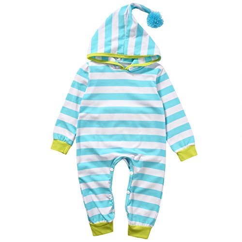 Newborn Baby Boy Girl Crawling Clothes Long Sleeve Striped Hooded Romper Jumpsuit Outfits (70cm/0-3 Months) Long Sleeve Striped Onesie