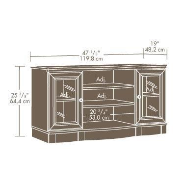 Sauder Regent Place Panel 47 1/8'' W x 19'' D x 25 3/8'' H TV Stand, Estate Black Finish