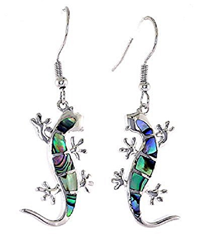 (Paua(Abalone) Shell French Lever Back(Fish hook) Earrings - Gecko Inspierd)