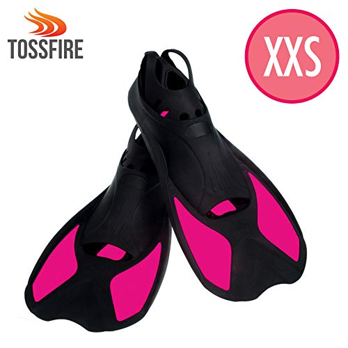 Snorkeling Fins For Kids, Short Floating Training Swimming Fins for Children Girls US size Kid 2-3 Width Ankle 2.5