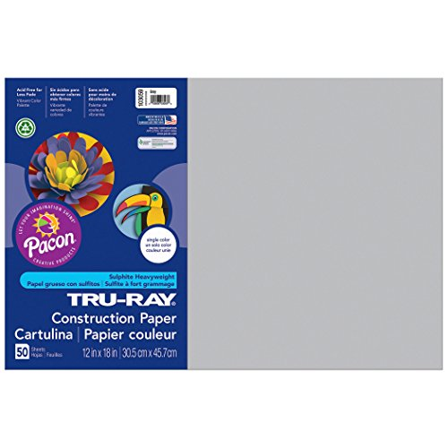 Pacon Tru-Ray Construction Paper, Gray, 12