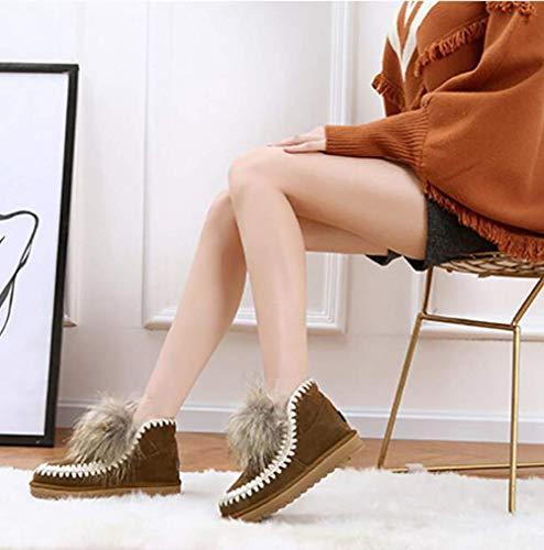 Stivali In Fuxitoggo Europeo Neve Stile Inverno E 40 Rosso colore Da Marrone Alla Donna Marrone 37 Americano Eu Dimensione Casual Caviglia Scamosciata Scarpe Peluche d0x0rSWFOq