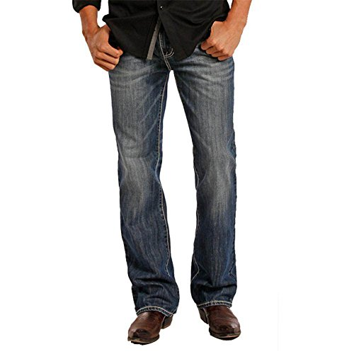 Straight Rock - Rock & Roll Cowboy Men's and Double Barrel Medium Wash Cream Embroidered Jeans Indigo 36W x 38L