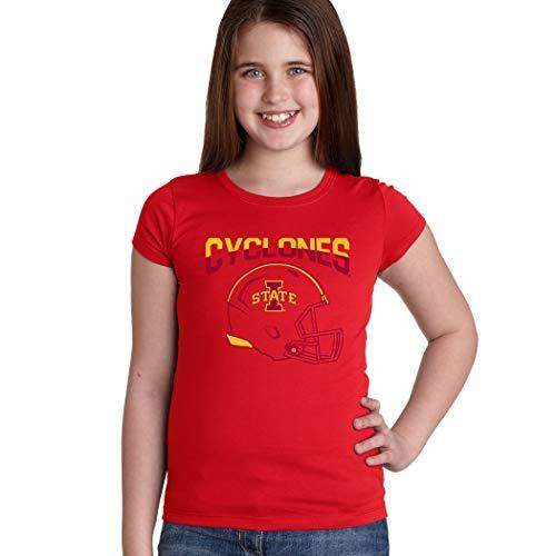 CornBorn Iowa State Cyclones Youth Girls Tee Shirt - ISU Cyclones Football Helmet - Red - -