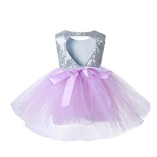 Sleeveless Princess Ruffle Summer Sequin Girl Dress Formal Bridesmaid Christmas Easter Evening Prom Dresses for Girls Tutu Tulle Baby Dress 2 3T lighhtpurple Lightpurple (Lilac Tutu)