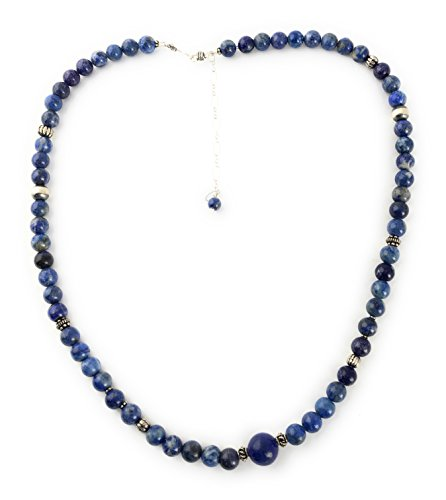 Masha Storewide Sale ! Sterling Silver Necklace By Denim Lapis, Made in USA - Exclusive Southwestern Handmade Jewelry, 8mm21 in Length Gift by Masha