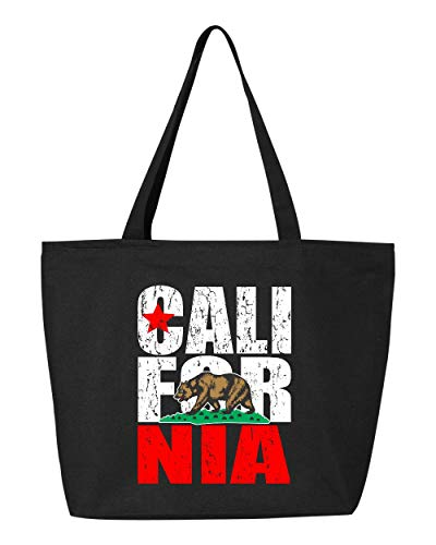 California Tote Bag (Shop4Ever California Bear Flag Vintage Heavy Canvas Tote with Zipper Reusable Shopping Bag 12 oz Black 1 Pack)