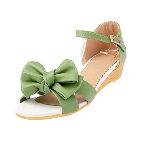 Toe Buckle AalarDom Heels Open Materials Solid Sandals Womens Green Soft Low ZwTBEqT