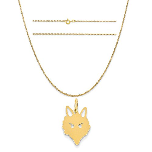 14k Yellow Gold Fox Head Charm on a 14K Yellow Gold Carded Rope Chain Necklace, (Fox Yellow Pendant)