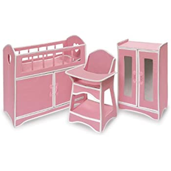 Superieur Badger Basket Folding Doll Furniture Set With Storage Crib, High Chair And  Armoire