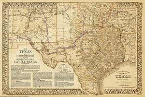 The Great Texas Cattle Trails~Chisholm~Western~Goodnight-Loving 2nd Ed. 36w x 24h