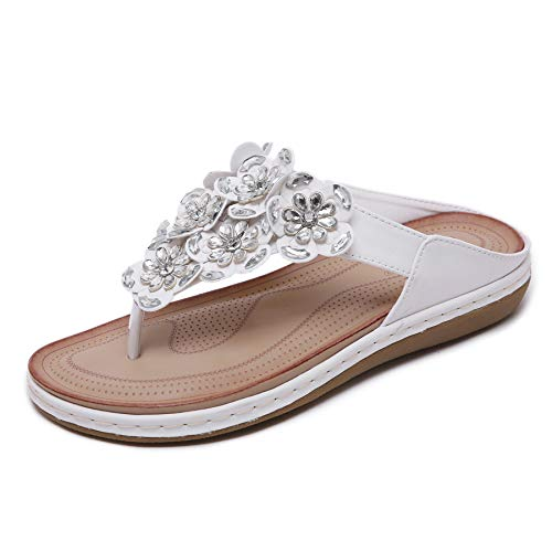 (SAIJING Women's Comfortable Thong Sandals Dressy T-Strap Flip Flop Sandals Beaded Rhinestone Flower Slip on Summer Beach Shoes White Size 10)