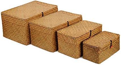 Seagrass Storage Baskets with Lids, Woven Rectangular Basket Bins, Wicker Storage Organizer for Shelf, Set of 4