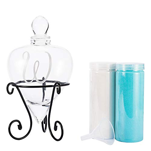 (AF ANDREW FAMILY Monogrammed Etched Wedding Glass Heart Shaped Unity Set with Metal Stand-Initial W White& Blue Sand)