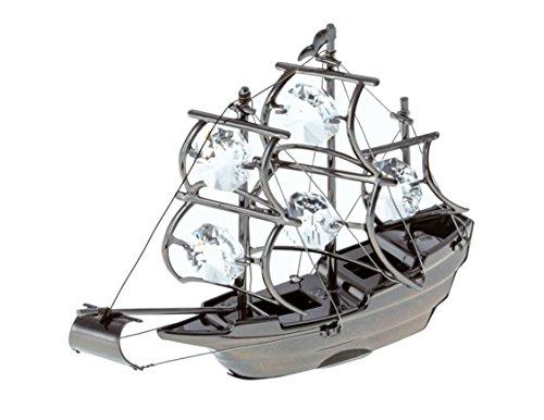 The Mayflower Tall Ship Black Plated Metal Figurine with Swarovski Crystals (Metal Ship Figurines)
