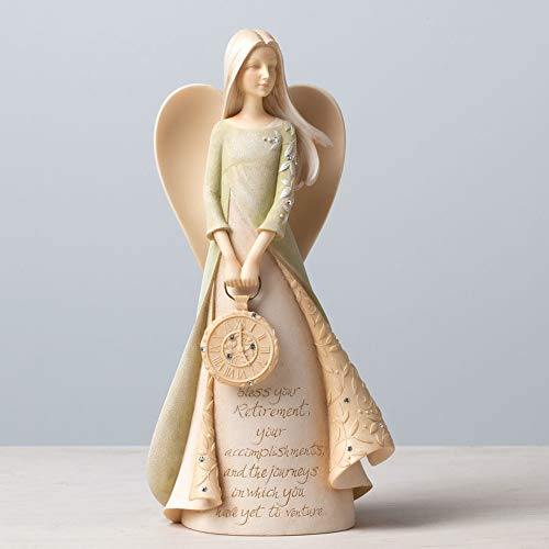 Enesco Foundations Retirement Angel Stone Resin Figurine, 9""