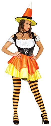 Ladies Sexy Orange Pumpkin Witch Halloween Fancy Dress Costume Outfit UK 12-18 (UK 12-14) ()