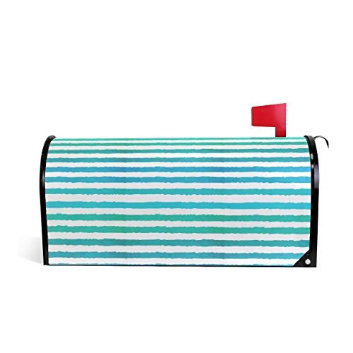 Watercolor Striped Print Mailbox Covers Magnetic Standard Size Mail Boxes Makeover Mail Wraps Cover Letter Post Box