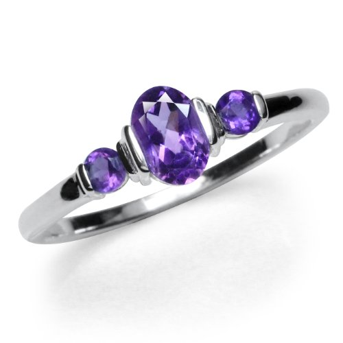 Petite 3-Stone Natural African Amethyst White Gold Plated 925 Sterling Silver Ring Size 4