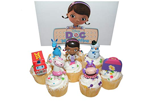 Disney Doc McStuffins Figure Deluxe Cake Toppers / Cupcake Party Favor Decorations Set of 7 with Doc, Lambie, Chilly, Stuffy,Hallie, Fire Truck and More! ()