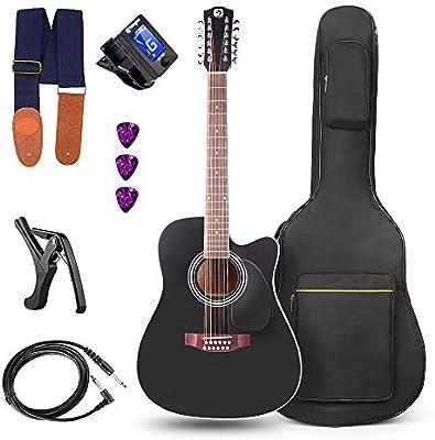 Vangoa Guitarra de 12 cuerdas 41 pulgadas Guitarra Electro Acústicas Ecualizador de 4 bandas con Kits de Inicio, Negro: Amazon.es: Instrumentos musicales