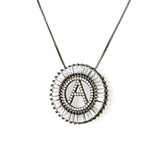 Name Initial/Letters Pendant Necklace A-Z 26 Alphabets Cubic Zirconia Choker Letter Necklaces - 50cm Chain - 2.8cm