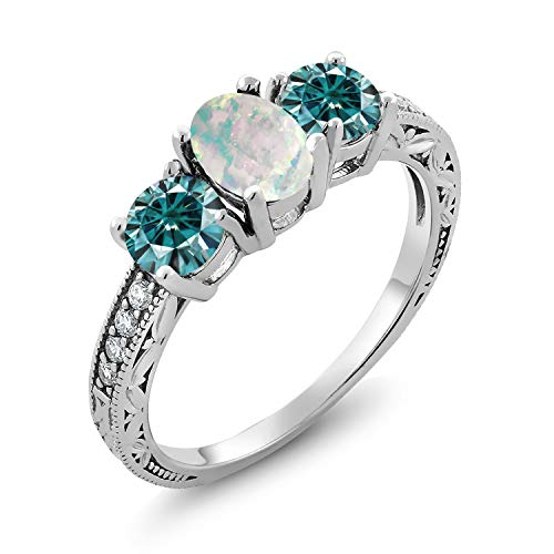 Oval 3 Stone Cabochon Ring - Gem Stone King 925 Sterling Silver 3-Stone Ring Oval-Cabochon White Simulated Opal and Vivid Blue Created Moissanite 1.00ct (DEW) (Size 8)