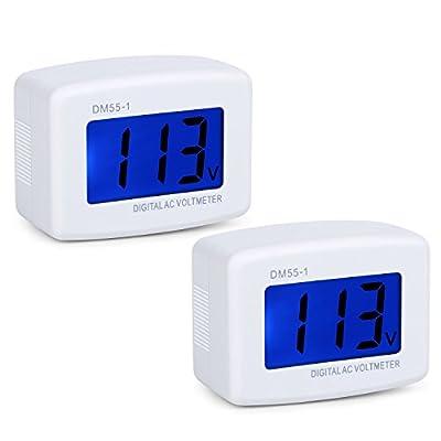 Eversame 2-Pack Flat Plug AC 80-300V Volt Household Voltage Tester Gauge Multimeter, AC 110V LCD Digital Voltmeter Volt Panel Meter Voltage Tester, Measuring The Voltage of Office Factory Wall Socket