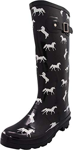 NORTY - Womens Hurricane Wellie Gloss Hi-Calf Horse Print Rain Boot, Black 40855-7B(M) US