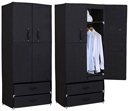 woltu portable clothes closet wardrobe with 2 drawer clothes storage with heavy duty doors cloth