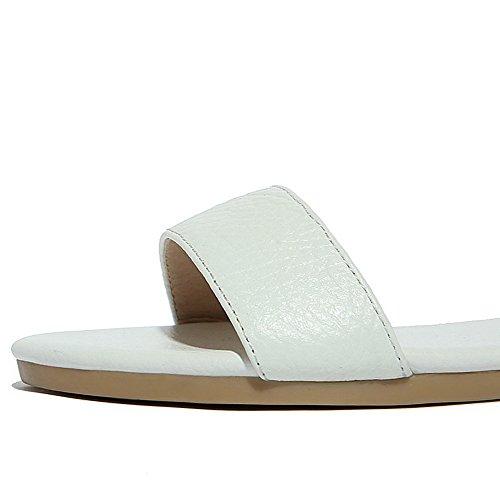 AalarDom Mujer Puntera Abierta Mini Tacón Pu Sólido Hebilla Sandalias de vestir Blanco