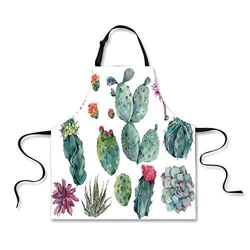 Cooking Apron,Nature Decor,Desert Botanic Herbal Cartoon Lik