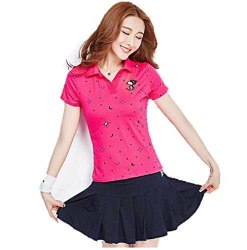 KEIMI(ケイミ) レディース ゴルフウェア 上下 セット ポロシャツ スカート カジュアル 可愛い スポーツウェア おしゃれ ゴルフ ウェア 全4色 (M, red)