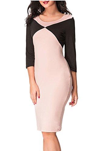 Elegante Langarm Colorblock Patchwork Bodycon Kleid für Damen ...