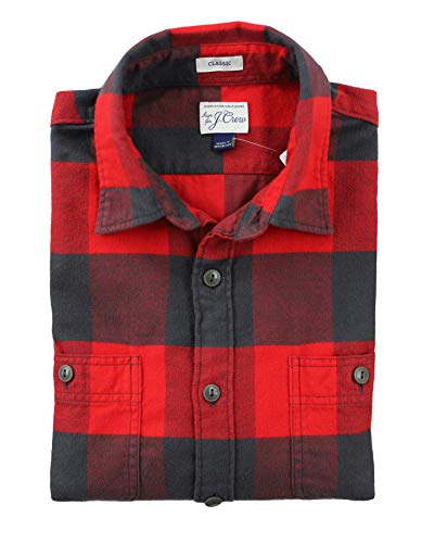 J. Crew - Men's Regular Fit - Mid-Weight Plaid Duel Pocket Brushed Twill Shirt (Large, Red Buffalo - Crew Brushed Twill