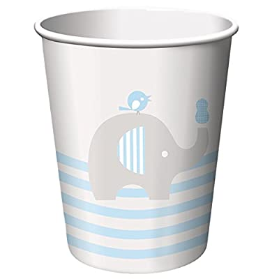 Blue Elephant Boy Baby Shower Supply Pack! Bundle Includes Paper Plates, Napkins, Cups & Silverware for 8 Guests: Kitchen & Dining