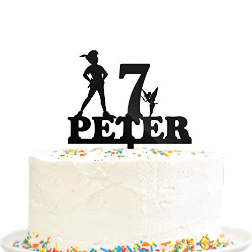 Happy Birthday Party Cake Topper Never Grow Up Pan Custom Name Age Lost Boys Peter Pan Party Decoration Black Acrylic ()