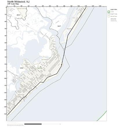 Amazon.com: ZIP Code Wall Map of North Wildwood, NJ ZIP Code Map ...
