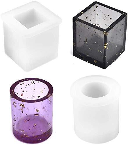 Molde de silicona para resina epoxy cubo y cilindro pack 2